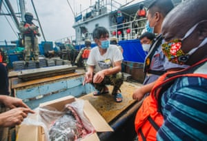 Gabonese authorities uncover a box of ray fins during a routine inspection of a local trawler as part of a collaboration between the government of Gabon and Sea Shepherd to stop illegal and unregulated fishing