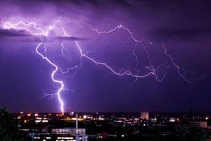 Munich, Germany Purple rain: lightning flashes over Munich