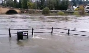 The River Severn bursts its bank in Bewdley, Worcestershire