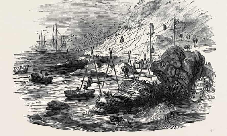 Loaded to the gunnells: an illustration of boats shipping guano in the 1850s from Peru.