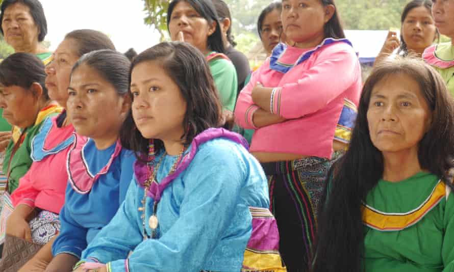 Shipibo-Konibo women listen at a village meeting.