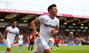 Aaron Cresswell celebrates scoring West Ham United's second goal against Bournemouth.