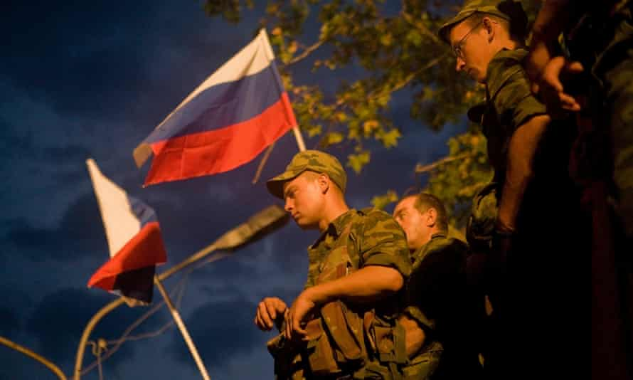 Russian troops listen to a victory concert in Tskhinvali, South Ossetia, in 2008