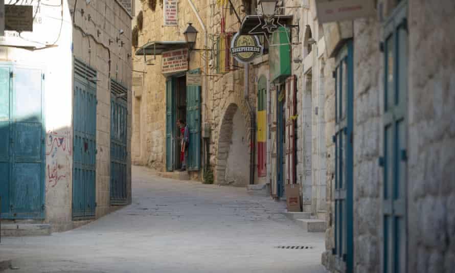 A deserted street near the Church of the Nativity in Bethlehem.