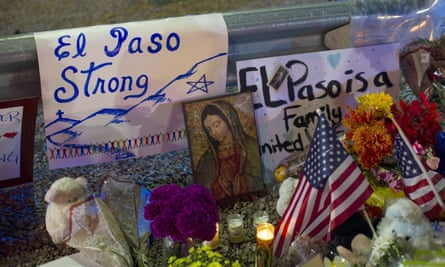 A makeshift memorial for the victims of the mass shooting at a Walmart in El Paso, Texas.