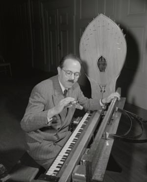 Maurice Martenot, with the electronic instrument he invented in 1928, the ondes Martenot.