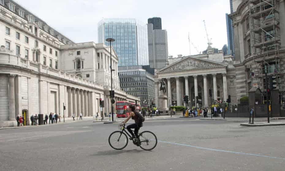 Bank junction in London, where all but buses, bicycles and pedestrians were recently banned on weekdays