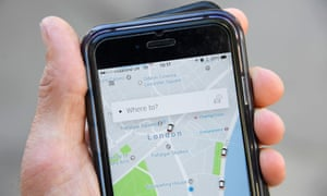 The Uber app on a mobile telephone