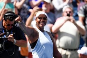 Taylor Townsend celebrates her win over Sorana Cirstea.