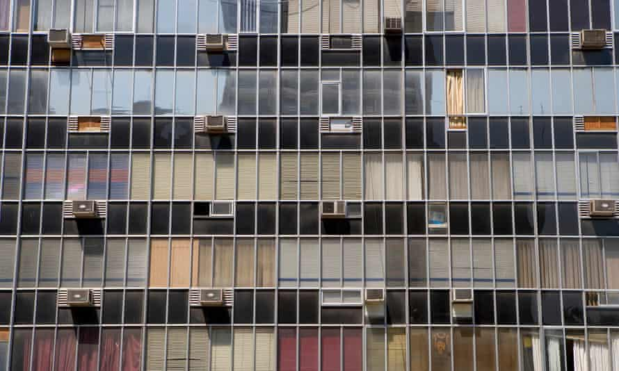 High-rise building exterior with air-conditioning units