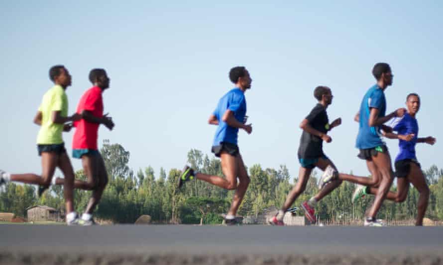 Athletes from Moyo Sport management training in Sebeta, just outside Addis Ababa, Ethiopia.