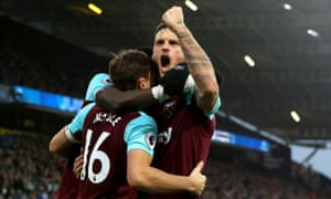 Marko Arnautovic celebrates with Mark Noble after the West Ham skipper gave them the lead.