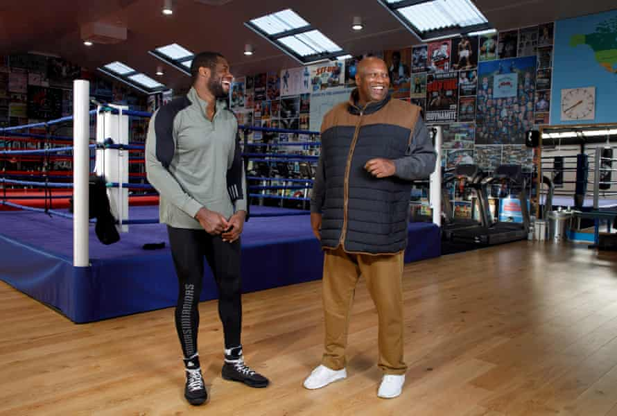 Daniel Dubois shares a joke with with his father Dave at the Peacock gym
