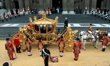 The Queen at St Paul's cathedral after arriving in the golden coach, first seen in public in 1762, when King George III travelled to the state opening of parliament.