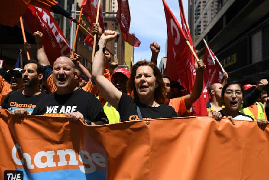 The ACTU president, Michele O'Neil, and the Unions NSW secretary, Mark Morey, left, in Sydney