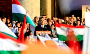Viktor Orban at an election rally for the Fidesz party in Budapest, Hungary.