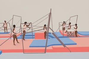 Trials, 2020: pastel-hued paintings of young black gymnasts