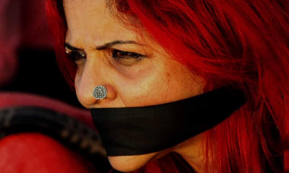 A silent protest against an attack on students at Jawaharlal Nehru University, New Delhi, by a masked mob in January.