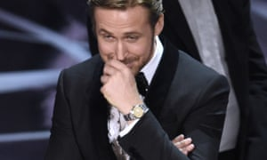 Giggling fit … Ryan Gosling chuckles as Moonlight is announced as best picture winner at the Oscars 2017.