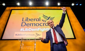 Tim Farron delivering his speech today.