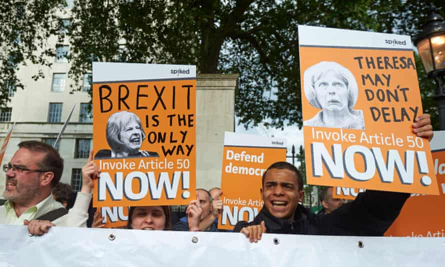 Pro-Brexit supporters outside Downing Street on on the day Theresa May became British Prime Minister.
