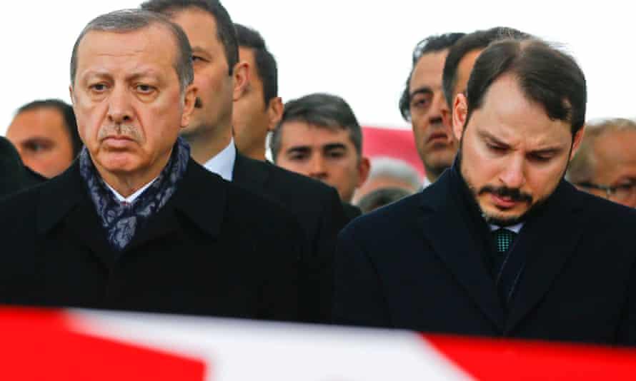 President Erdogan sits alongside son-in-law and current finance minister Berat Albayrak.