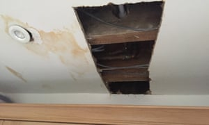 The damage caused to Dawn Holmes's ceiling after Bathstore's fitters drilled through a central heating pipe.
