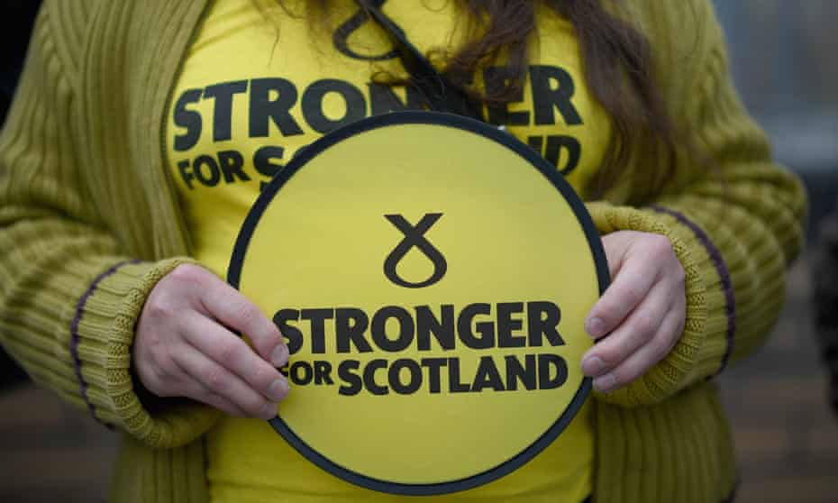 An SNP activist campaigning before the general election.