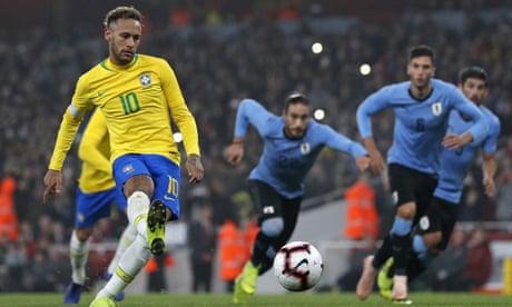 Neymar's penalty gives Brazil win over Uruguay in lacklustre friendly