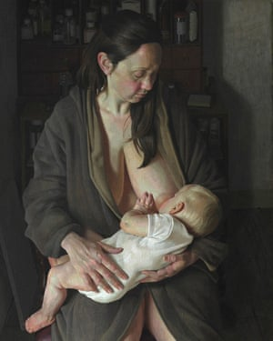 Benjamin Sullivan's painting of his wife and child, Breech!, which won the 2017 BP Portrait Award