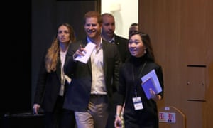 Prince Harry arrives to speak at a sustainable tourism summit at the Edinburgh International Conference Centre.