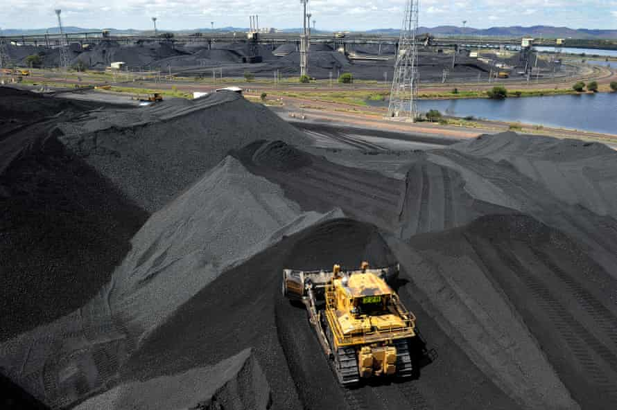 Coal is stockpiled in Gladstone before being shipped away