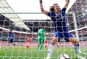 David Luiz celebrates.
