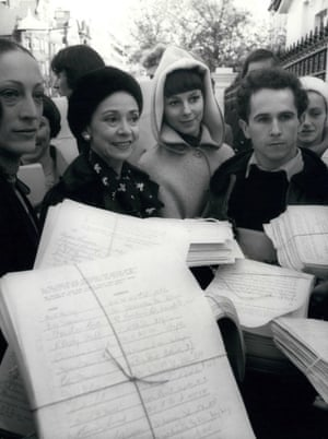 Dame Margot Fonteyn leads a protest at the Russian Embassy for Nureyev's family to visit the west, 1977