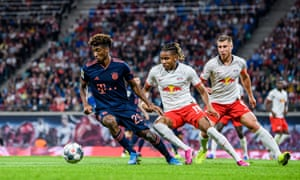 Kingsley Coman turns way from Christopher Nkunku during an electric display by the Frenchman.
