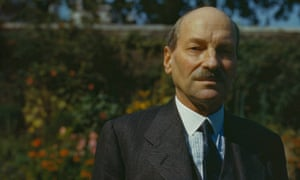 Clement Attlee in the garden of 10 Downing Street, London, in August 1945