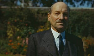 The Labour prime minister Clement Attlee in the garden of 10 Downing Street in August 1945.