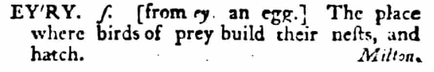 'eyry' in Samuel Johnson's Dictionary