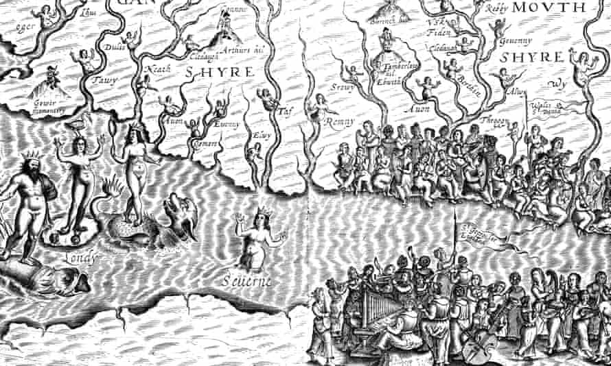 Set to get pens flowing ... detail of William Hole's illustration of the river Severn, from Albion's Glorious Ile