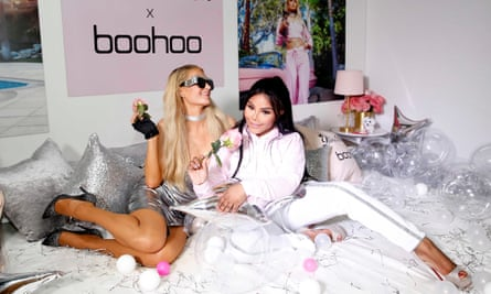 Paris Hilton and Lil' Kim at the launch party for Boohoo's Paris Hilton Collection in 2018.