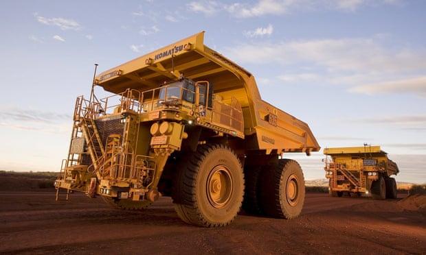 Autonomous haulage trucks operating at a mine in the Pilbara area of Western Australia. Photograph: Reuters