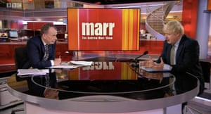 Boris Johnson being interviewed by Andrew Marr.