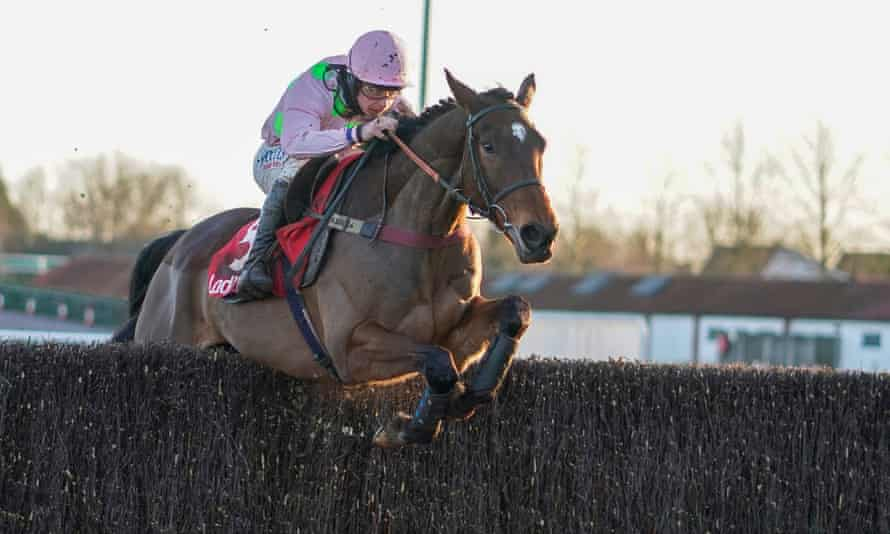 Royale Pagaille and Charlie Deutsch on their way to victory at Kempton's Christmas meeting. The horse has three entries at the Cheltenham Festival.