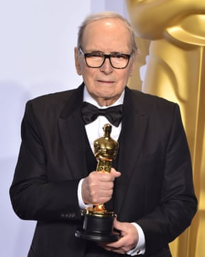 Ennio Morricone with his Best Original Score Oscar at the 88th Annual Academy Awards at Loews Hollywood Hotel in California on 28 February 2016