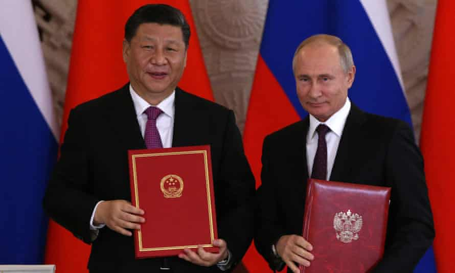 Chinese president Xi Jinping and Russian counterpart Vladimir Putin meet at the Grand Kremlin Palace in Moscow on Wednesday.