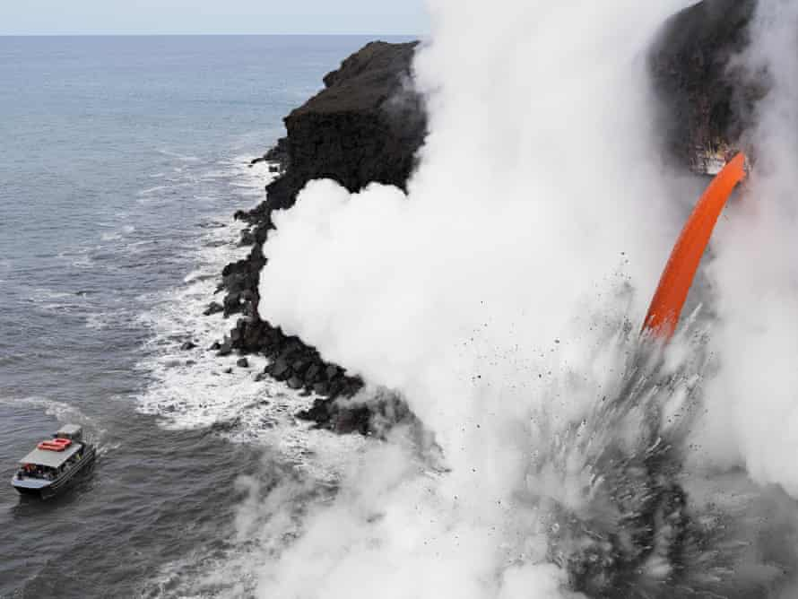 Lava flowing into the sea on the coast of Hawaii.