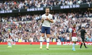 Harry Kane of Tottenham Hotspur celebrates scoring his sides third goal.