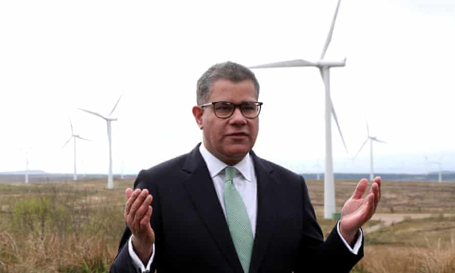 Cop26's president, Alok Sharma, at Whitelee windfarm, outside Glasgow.