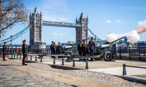 A gun salute at the Tower of London