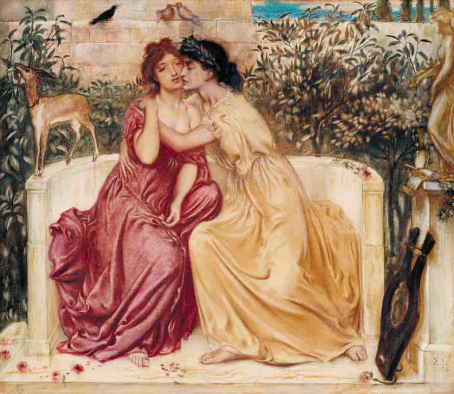 Sappho and Erinna in a Garden at Mytilene by Simeon Solomon, painted in 1864.